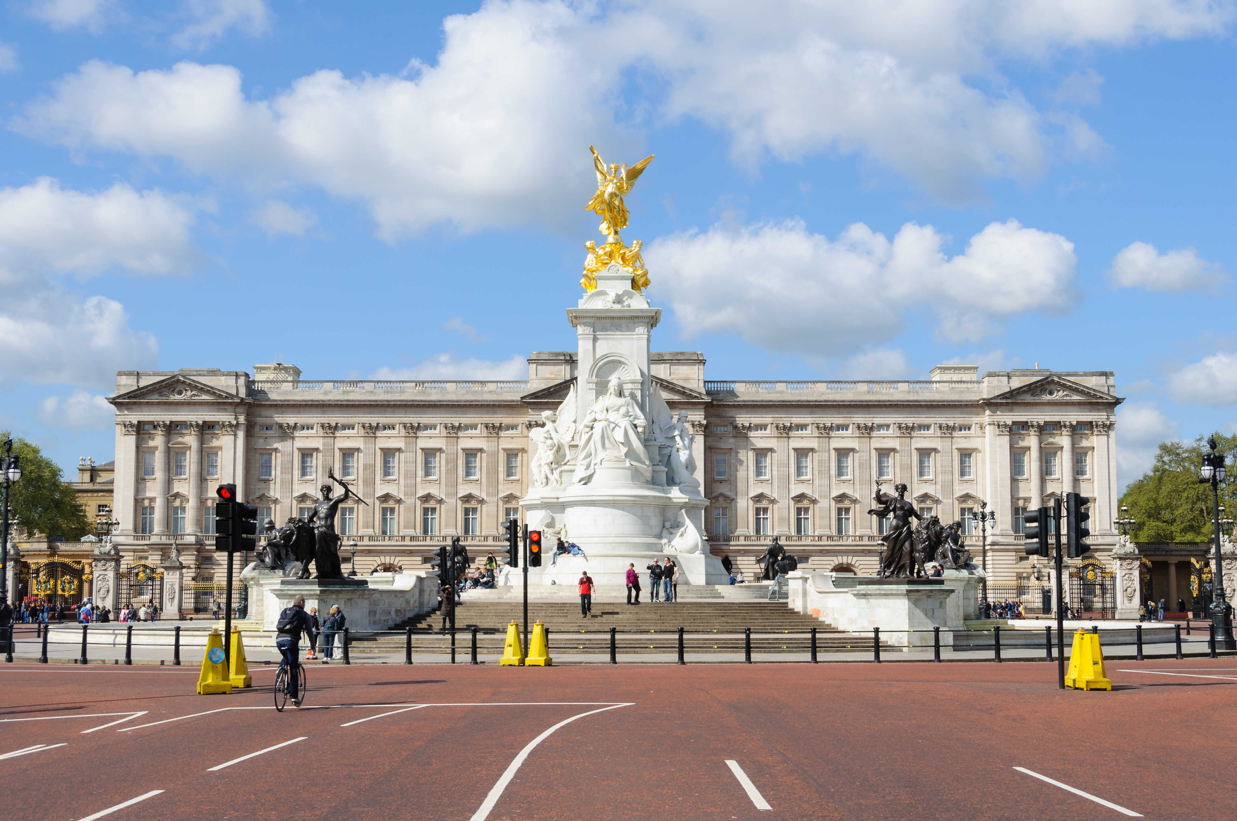 LONDON, UK - CIRCA May 2012: The Queen Victoria Memorial and Buckingham Palace by a sunny day.