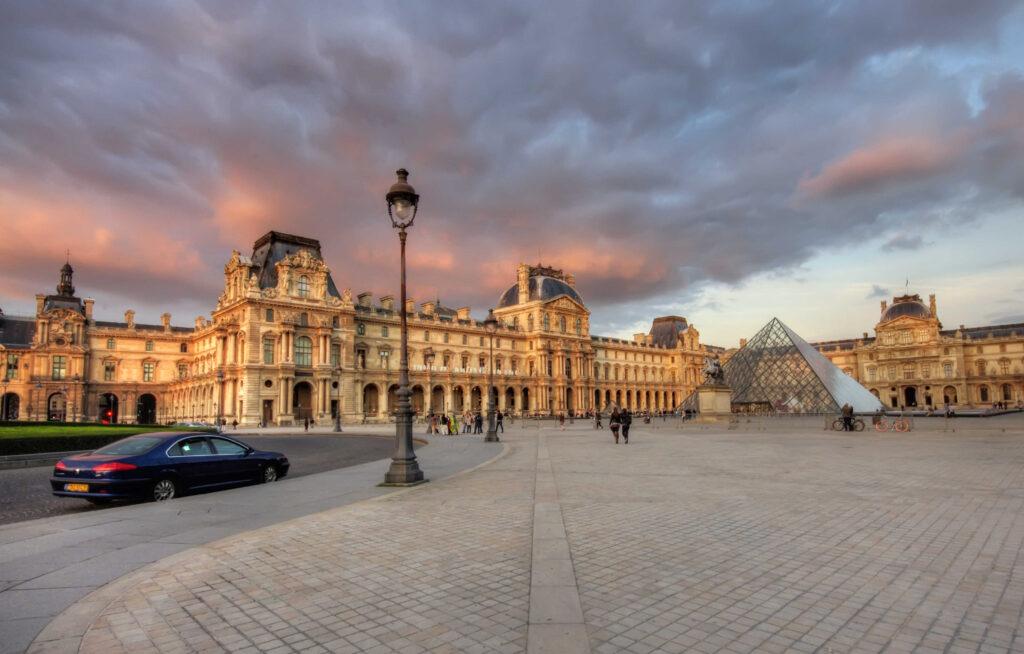 sunset at Louvre Museum, Paris, France