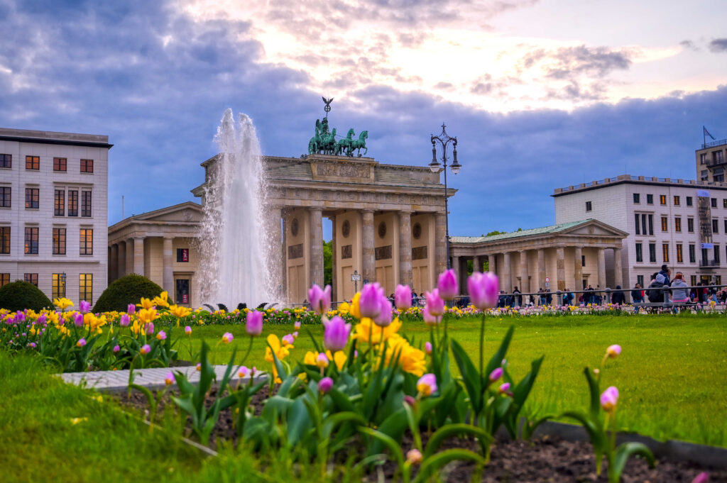 Berlin, Germany - May 3, 2019 - The Brandenburg Gate at sunset located in Pariser Platz in the city of Berlin, Germany.