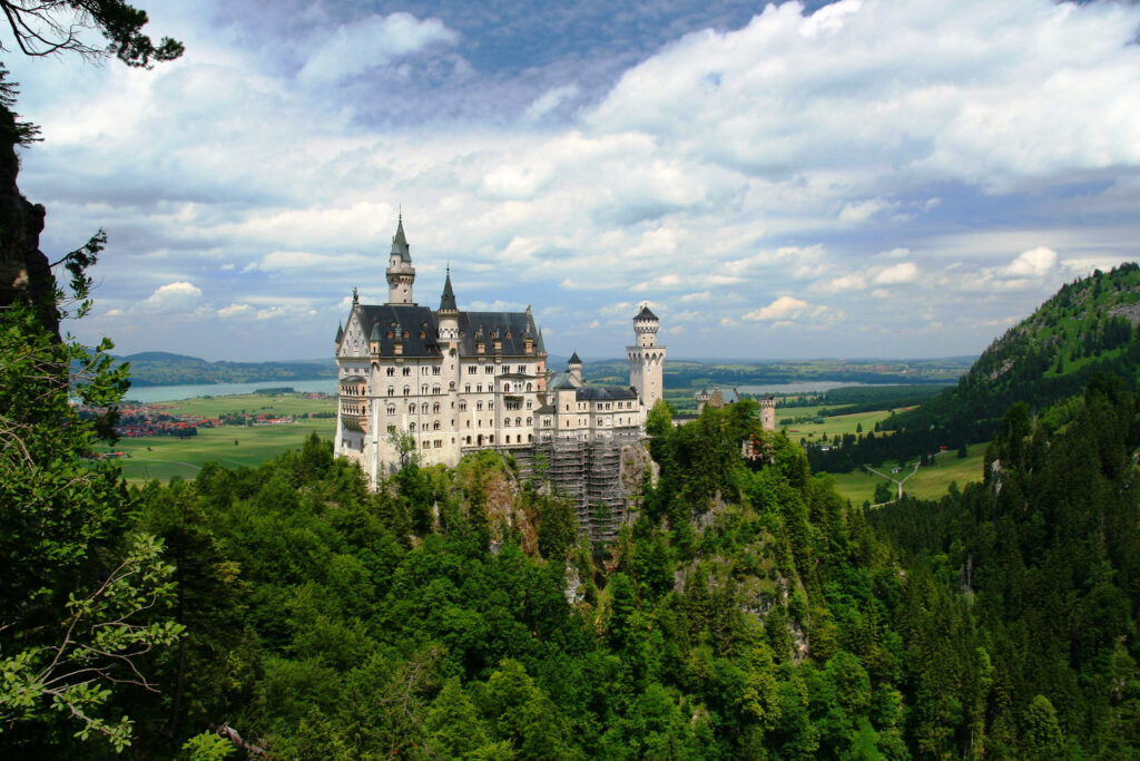 Neuschwanstein Castle (Schloss Neuschwanstein) from a lookout in Germany.