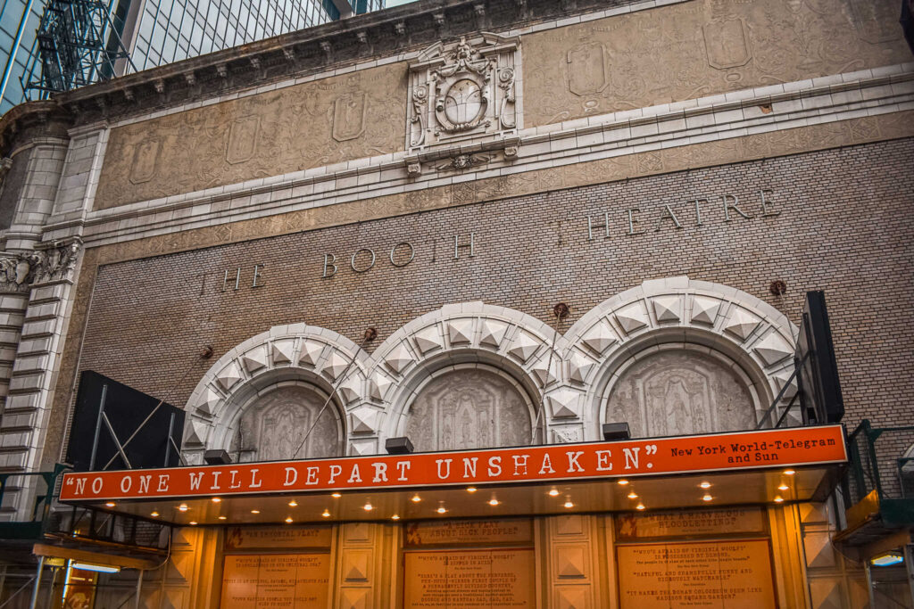 The Booth Theater in New York City - From big, bright classic American musicals to intimidate plays to more experimental works. New York theatre is one of a kind and worth experiencing, even just once. These are my best tips for attending a Broadway show and for how to buy Broadway tickets.